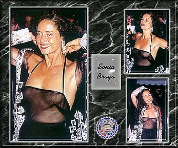 Sonia Braga shows nude tits under see through top