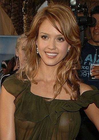 Jessica Alba nude boobs under transparent dress