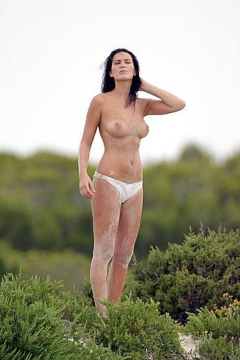 Lucy Clarkson fully nude on a beach in Majorca