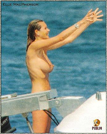 Elle Macpherson caught topless on a yacht