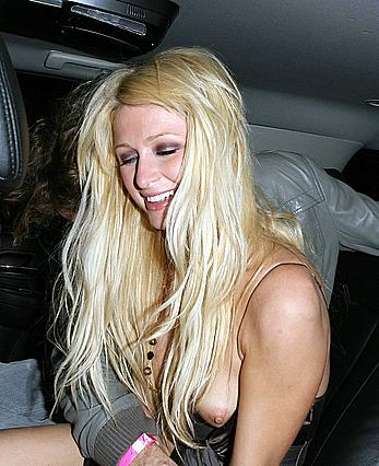 Paris Hilton titslip in a car paparazzi shots